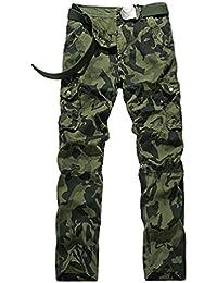 YiJee Hombre Pantalones de Carga Camuflaje Ocasional Camo Multibolsillos Pantalón de Trabajo