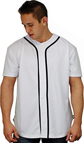 Baseball Jersey T-shirts Uni Button-Down Sports Tee, weiß (Tee Baseball Kontrast)