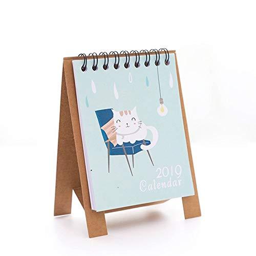 Yangmg 2019 Kalender- (Malen + Blume + Schwein + Fisch + Katze + Flamingo + Kronenkatze + Mädchen + Weißer Bär) 9 Kombinationen Praktisch (Auf Einen Blick Monatliche Kalender)
