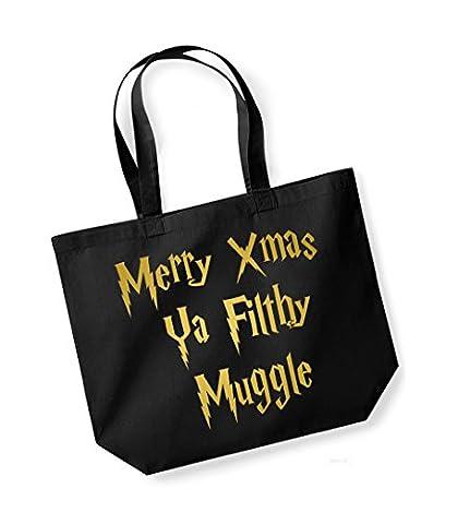 Merry Xmas Ya Filthy Muggle - Large Canvas Fun Slogan Tote Bag (Black/Gold)