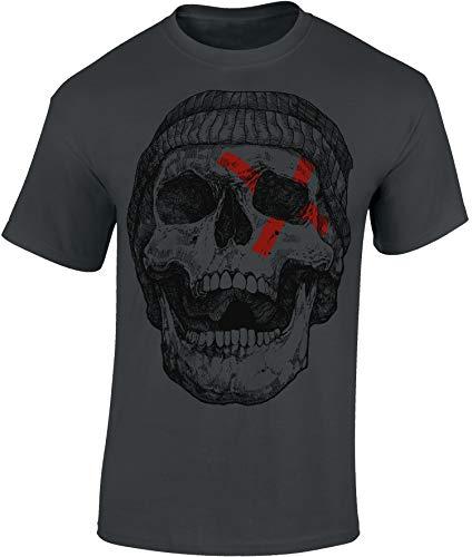 T-Shirt: Patched Skull - Totenkopf - Shirt Herren Damen - Mann Männer Frau-en - Fantasy Horror Kino - Geschenk Gamer - Zombie Apocalypse - Streetwear - Death Tod (L)