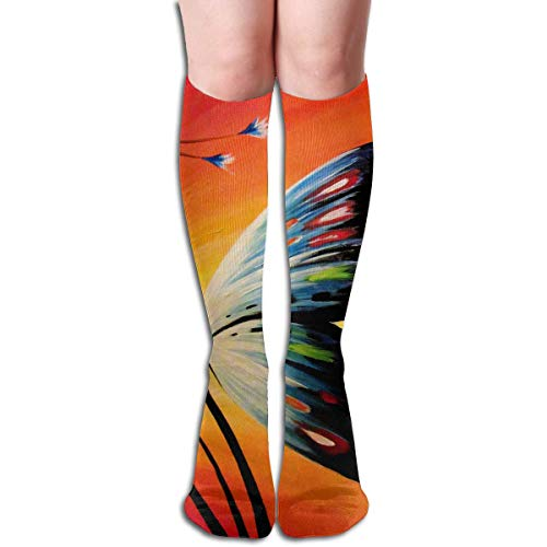 CVDFVFGB Compression Socks Butterfly Grass Wing High Boots Stockings Long Hose for Yoga Walking for Women Man