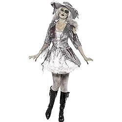 Smiffys Disfraz de Tesoro Pirata de Ghost Ship, Gris, con Vestido y Sombrero