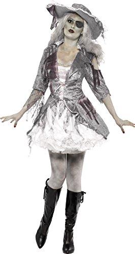 Smiffys, Damen Geisterschiff Piraten Schatz Kostüm, Kleid und Hut, Größe: L, (Pirat Geisterschiff Kostüme Kind)
