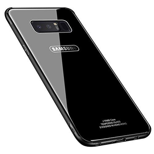 Blossom01 Custodia Samsung Galaxy Note 8 Cover Posteriore in Vetro Temperato di Lusso con Cornice in TPU Morbida Assorbimento Degli Urti Protezione Completa - Nero