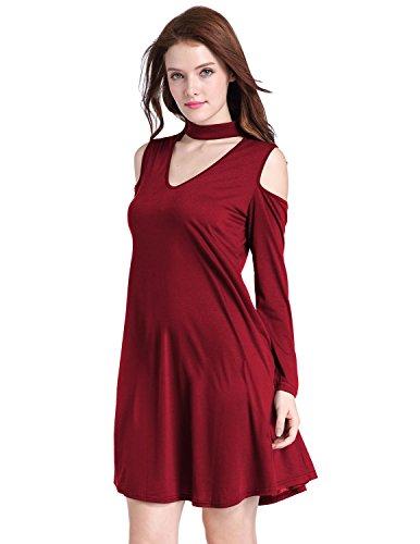 M-Queen Femmes Sexy Robe de Soirée Cérémonie Mariage Cocktail Epaule Nue Asymétrique Court Manche Col V Mini Dress Rouge