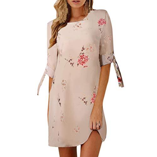 WUDUBE Mini Robe  Femme Mode Robe De Soirée Grande Taille Décontractée Floral Impression Bowknot Manches Col Rond Élégant Robe