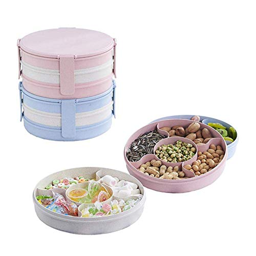 Coogel Fruit Plate Buckle Compartment Candy Box Wheat Square Seeds Dried Tray Snacks Plastic Dish Living Room Storage Wedding Bowl Grid Simple Platter Round Fashionable Snack Sealed (Three Layers) - Open Candy Dish