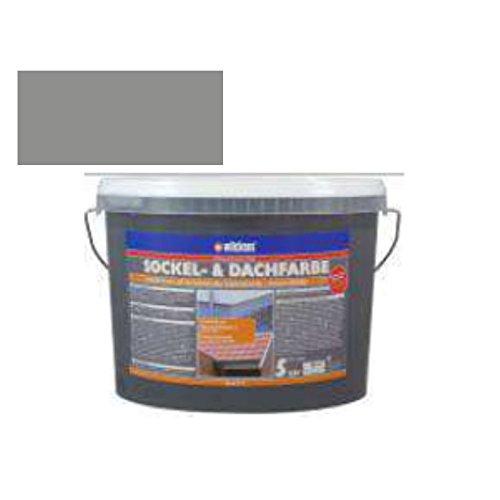Sockel- & Dachfarbe inkl. 4 x 5m Abdeckfolie von E-Com24 (Sockelfarbe Steingrau 5 Liter)