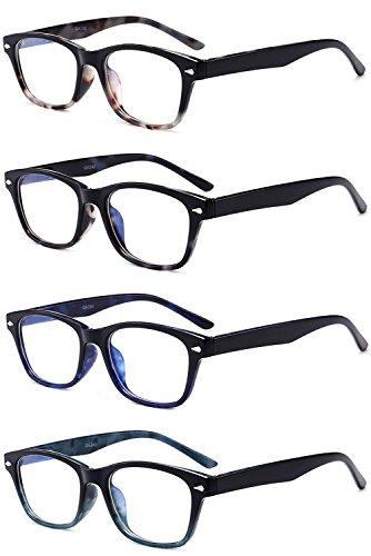VEVESMUNDO® Anti-Müdigkeit Computer Lesebrillen Wayfarer Damen Herren Federscharnier Transparent Brille Augenoptik Lesehilfe Sehhilfe Arbeitsplatzbrille 1.0 1.5 2.0 2.5 3.0 3.5 4.0