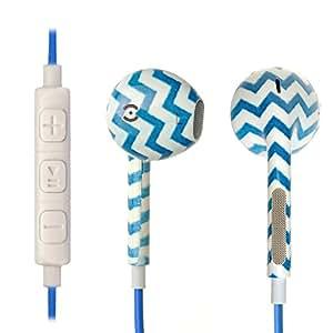 iprotect® Premium Kopfhörer in Ear blau weiß gezackt - Headset für alle Modelle wie z.B. Sony, Samsung, LG, Huawei, HTC, UVM. | Sport Kopfhörer | Ohrhörer