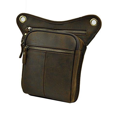 Genda 2Archer Utility Cross Over Tasche Leder Taille Bein Tasche (Braun 5) Dunkel Braun