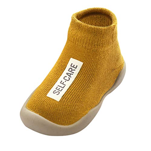 WEXCV Baby Socken Schuhe Kinder-Hüttenschuhe aus Baumwoll Niedlich Einfarbig Briefdruck Gummisohlen Kinder Rutschhemmender Sohle Unisex für Mädchen und Jungen Warm Kleinkindschuhe