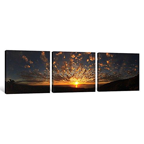 iCanvasART 3Stück Sonnenuntergang über dem Pacific Ocean kealakekua Bay, Kona Coast, Kona, Hawaii, USA Leinwand Kunstdruck Panorama Bilder, 12x 36x 3,8cm -