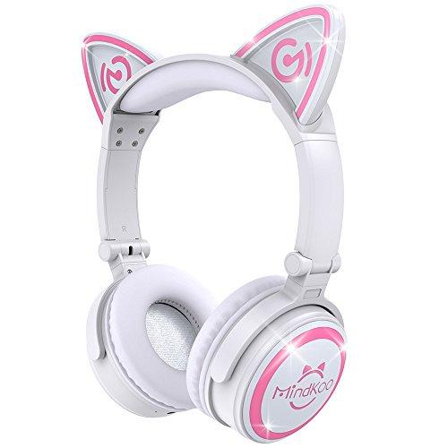 TECKEPIC Casque Audio Stéréo Bluetooth 4.2 Oreilles de Chat Headphone Wireless Origine Cat Ear Ecouteur Supra-Auriculaire sans Fil avec Microphone Intégré kit Main Libre Compatible - Blanc&Rose