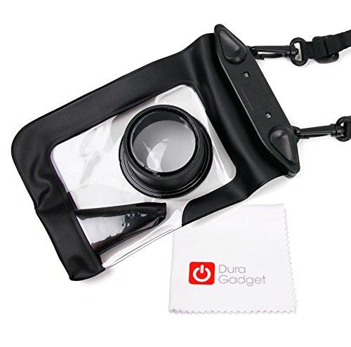 DURAGADGET Housse étui de protection résistant à l'eau et hermétique noire pour appareil photo Olympus Stylus Tough TG-4 - accès déclencheur & tour de cou + chiffon microfibre