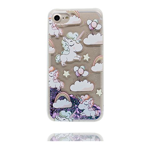 "iPhone 6 Plus Hülle, iPhone 6S Plus Handyhülle Cover 5.5"", Liquid Fließendes Glitzer Bling Bling Floating sparkles, iPhone 6 Plus Case 5.5"", Shell Anti-Beulen Pferd # 6"