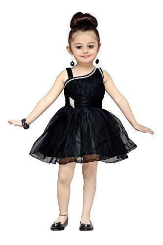 Aarika Girl's Party Wear Self Design Net Frock (FK-4029-BLACK_32_7-8 Years)