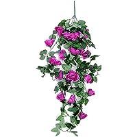 Styhatbag Maceta para Colgar en la Pared Artificial Rosa Vid Pared Wisteria Cesta Colgando Vid Boda montado en casa jardín balcón Pared Traling decoración Floral Titular de Maceta (Color : Púrpura)
