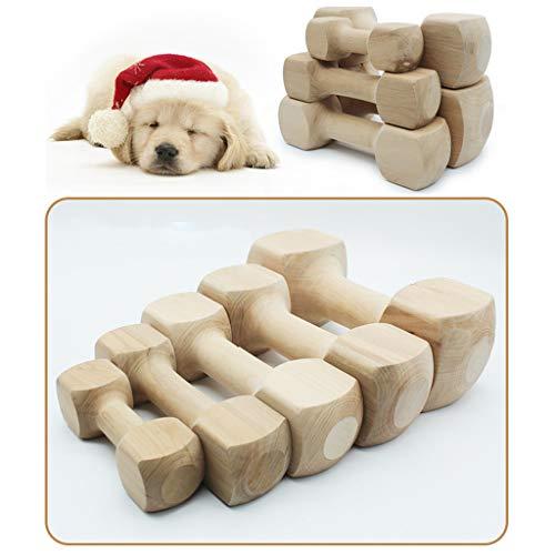 Amphia - Dauerhafter echter hölzerner Hundekauen-Knochen-Spielzeug für Hunde, Safe und Hantel(XXL: 27 × 9,8 cm (Links) / 10,62 × 3,85 Zoll)