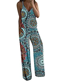 AngelSpace Womens Deep V-Neck Stripe Palazzo Lounge Pants Skinny Jumpsuit