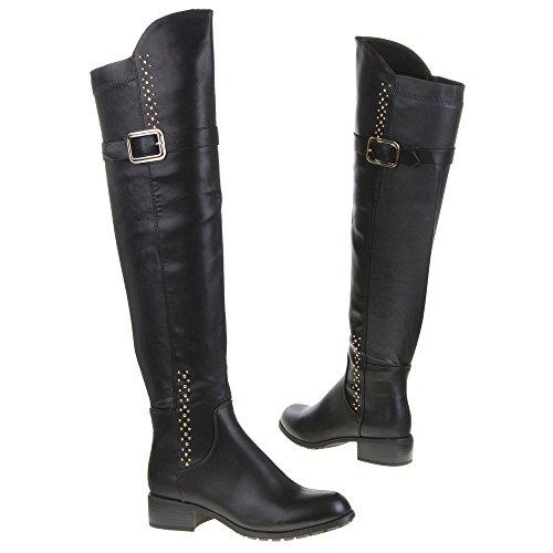 Ital - 966, bottes Noir - Noir