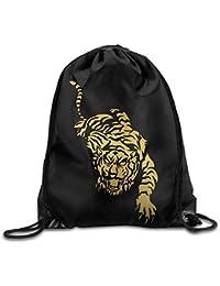 Cool Tiger Gold Gym Drawstring Backpack Unisex Portable Sack Bag
