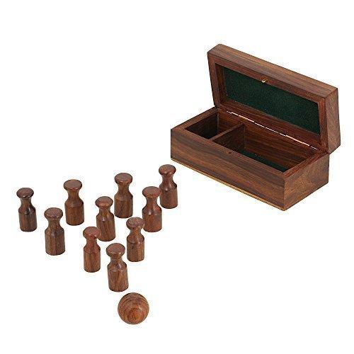 ShalinIndia Miniatur aus Holz, bowling Set; handgemachte Brettspiel für Erwachsene