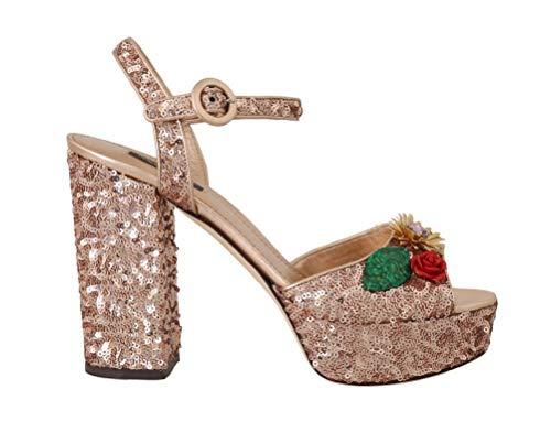 Dolce & Gabbana - Damen Sandalen - Pink Gold Sequin Crystal Sandal - EU 39