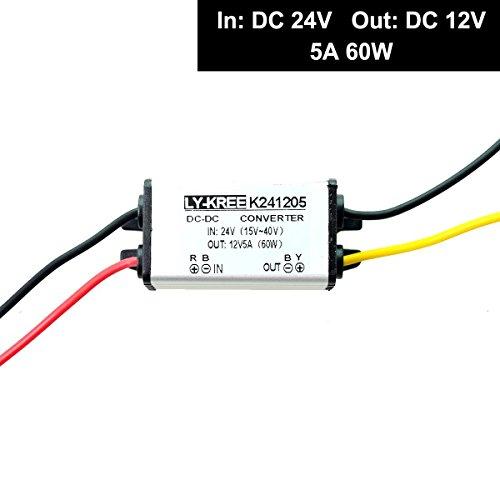 LKW Netzteil Spannungswandler 24v auf 12v 5A 60W Transformator Trafo Adapter Wandler Konverter for Motor Auto PKW Kfz Boot Sonnensystem (DC15-40V Breit Eingang)