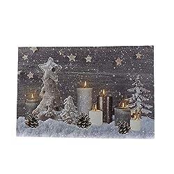 Knüllermarkt 31612 I Bedruckte LED I Leinwand I 60x40 I Kerzen I Winter I Bild I Wanddeko I Weihnachten I Kunst Deko