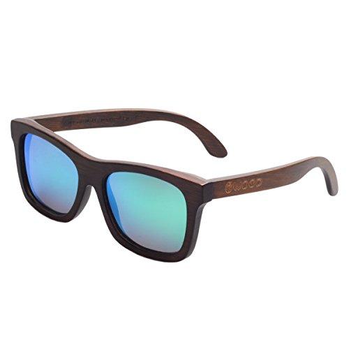 Iwood Unisex Madera marrón Cristal polarizado Verde de la lente gafas de sol de bambú