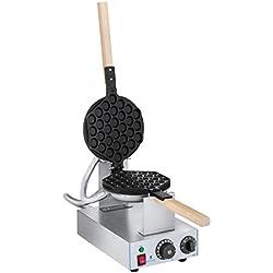 Royal Catering Gaufrier Bubble Waffle Appareil a Gaufres Waffle Machine a Gaufre RCWM-1400-B (1.415 W, Matériau Acier/Aluminium, 1Poignée en bois résistante à la chaleur, Température 50-250 °C)