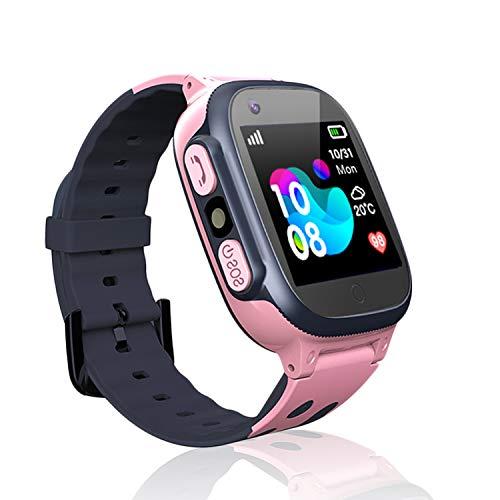tch LBS Telefon Uhr,Touch LCD Kinder Smartwatch mit Taschenlampen Anti-Lost Voice Chat für 3-12 Jahre alt Jungen Mädchen Geburtstagsgeschenke(Pink) ()