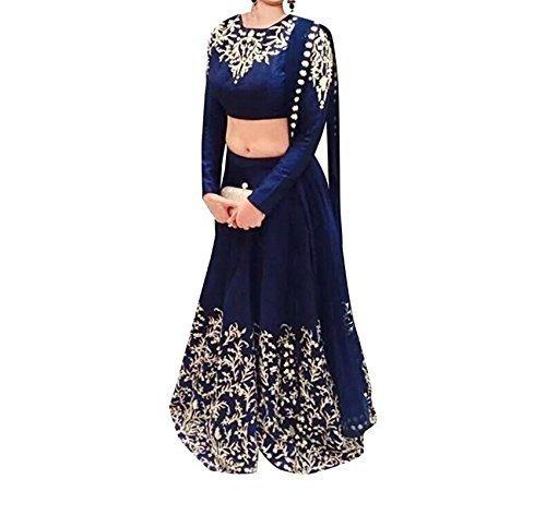 Mannat Fashion Women\'s Georgette Lehenga Choli (APLE_Prachi _Blue _Free Size)