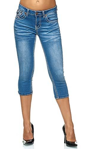 Elara Damen Capri Hose Slim Fit Jeans mit Dicker Naht Chunkyrayan 1579 Blue-42 -