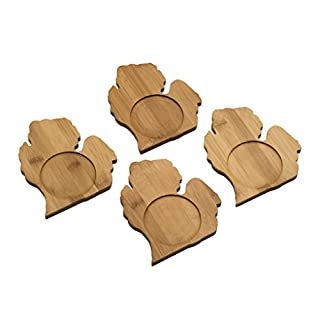 Arrowhead Bay Real Bamboo Coaster Set/4, Michigan design
