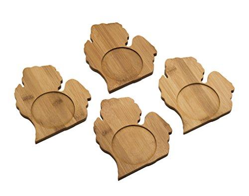 Arrowhead Bay Untersetzer-Set/4aus echtem Bambus, Michigan Design Bambus Coaster Set