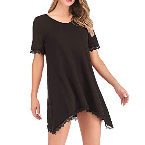 (Yvelands Damen T-Shirts Kleid Lose Runde Spitze Saum Unregelmäßige Oberteile Lässige Kurzarmbluse(Schwarz,CN-XL))