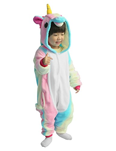 Kinder Pyjamas Tier Einhorn Jumpsuit Nachtwäsche Unisex Cosplay Kostüm für Mädchen und Jungen (125/Größe:135-145cm, Helle Regenbogenfarben)