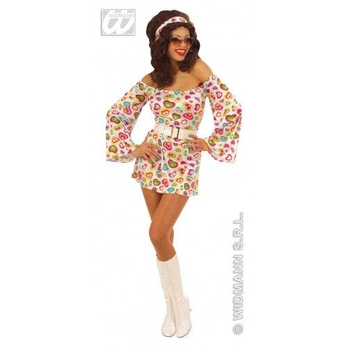 Kostüm Girl Seventies - Widmann-WDM58052 Erwachsenenkostüm für Damen, mehrfarbig, WDM58052