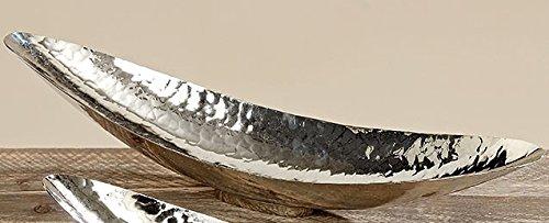 BHC Schale Länglich Silber gehämmert groß Klein Schale Dekoschale Silberschale Modern Ausgefallen dekorieren Lang Elegant (Länge 65 cm)