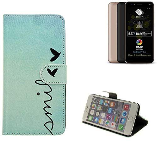 K-S-Trade® Für Allview A9 Plus Hülle Wallet Case Schutzhülle Flip Cover Tasche Bookstyle Etui Handyhülle ''Smile'' Türkis Standfunktion Kameraschutz (1Stk)
