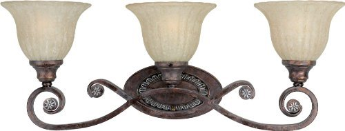 Forte Lighting 5000-03-21 Bath Vanity with Mica Flake Glass Shades, Rustic Spice by Forte Lighting -