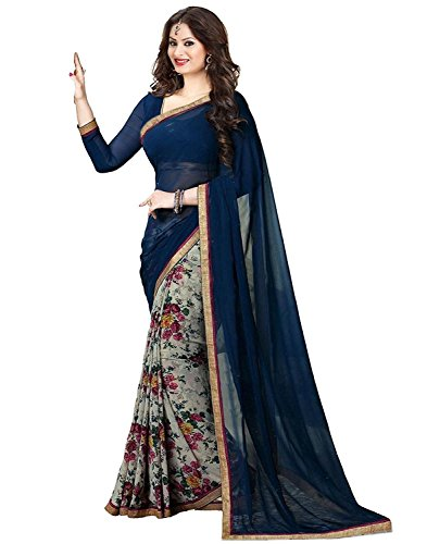 Indian E Fashion Embroidered Neavy Blue Half And Half Georgette Saree With Blouse Material For Party wear,Wedding,Casual sarees …