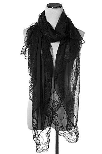 Elegante Estolas Bufanda Moda Chals Señoras Mujer 100% Mantón Pañuelos (negro)