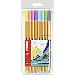 Rotulador puntafina STABILO point 88 - Estuche con 8 colores pastel