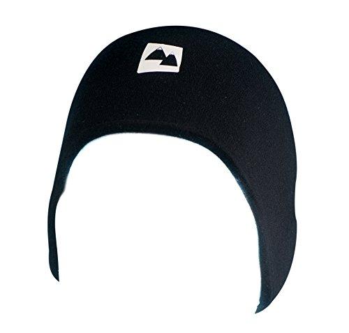 Merino Wolle Stirnband Warme Thermal Band - 100% Merino mit zwei Schichten für zusätzliche Wärme. Atmungsaktiv & Windbeständig. Geeignet im Winter & Sommer. Reflektierendes Logo. (Schwarz, Klein) -