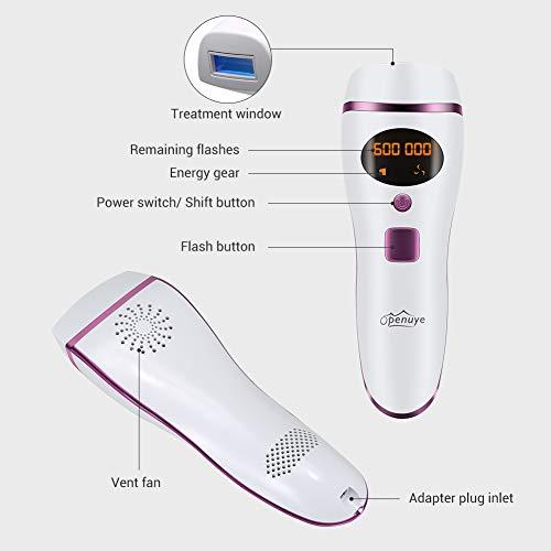 Depiladora IPL Openuye,  sistema de depilación para mujeres y hombres,  máquina de belleza,  depilación indolora,  cabezal láser de 600, 000 flashes con gafas IPL y maquinilla de afeitar