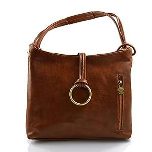 Damen tasche handtasche ledertasche damen ledertasche schultertasche leder tasche henkeltasche umhängetasche made in italy mattbraun